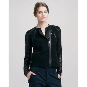 VINCE Leather Block Fitted Moto Jacket M